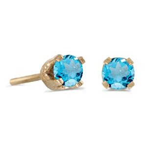 3 mm Petite Round Natural Blue Topaz Stud Earrings in 14k Yellow Gold