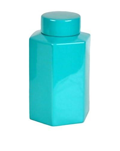 Three Hands Short Hexagonal Ceramic Jar, Turquoise