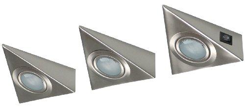 Ranex XQ0808 20 Watt Ranex Ligura Kitchen Cabinet Brushed Metal Spot Light/ Downlight, Pack of 3