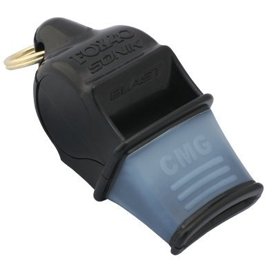 Fox 40 Sonik Blast CMG Official Whistle with Break Away Lanyard (Black) (Blast Whistle compare prices)