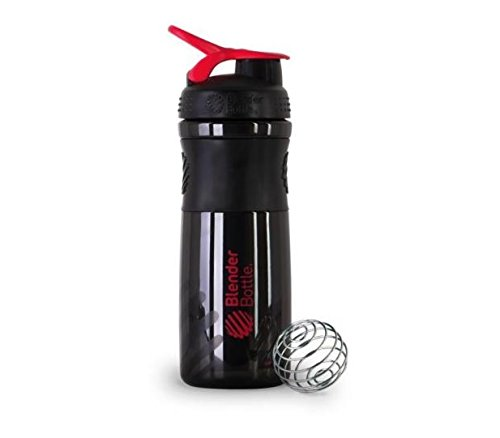 BlenderBottle SportMixer Protein Shaker Cup 28 oz Blender Bottle Sport Mixer Health & Fitness (Black/Red)