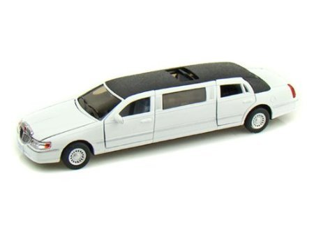 Kinsmart 1/38 Scale Diecast 1999 Lincoln Town Car Stretch Limousine in Color White