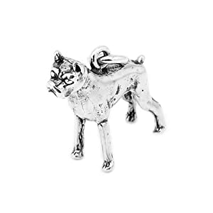 Sterling Silver Boxer Dog 3-D Charm