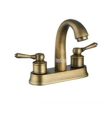 European Style Two Handle Centerset Bathroom Vessel Sink Faucet, Antique Brass Ys6597