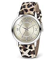 Round Face Leopard Skin Print Analogue Watch