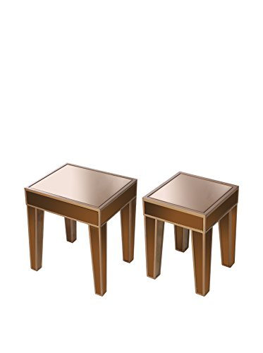 Evergreen Set of 2 Mirrored Side Tables, Tan