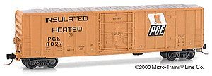 Micro Trains N 27280, 50' Rib Side Box Car, Plug Door without Roofwalk, Pacific Great Eastern PGE #8027 (N Scale)