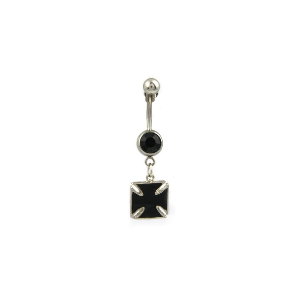 14g Surgical Steel Black Iron Cross Belly Ring w/ Black Colored Crystal