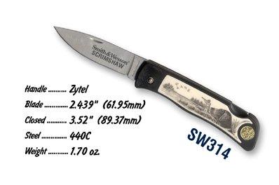 "Smith & Wesson Sw314 Lockback Pocket Knife With Scrimshaw Scene, Duck Hunter 3.4"""