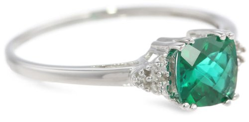 10k White or Yellow Gold May Birthstone Created Emerald and Diamond Ring