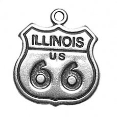 Sterling Silver 3D Illinois Route 66 Sign Vacation Travel Road Trip Charm