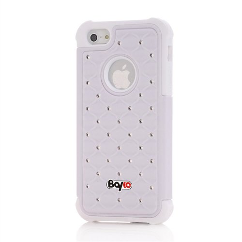 Bayke Brand Apple iPhone 5 (5C not Fit) PC + Silicone Impact Hybrid Bumper Defender Case Luxurious Lattice Dazzling Bling Shining Star Diamond Rhinestone Rubber Skin Hard Protector Cover Case (White and White Silicone) at Amazon.com