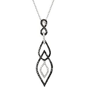 IceCarats Designer Jewelry 14K White Gold 3/4 Ctw Black And White Diamond Necklace