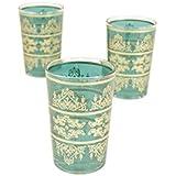 Casablanca Market Moroccan Tunis Tea Glasses, 4-Inch by 2.5-Inch, Aquamarine, Set of 6