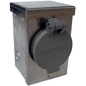 Generac 6346 30-Amp 125/250-Volt Aluminum Power Inlet Box with Spring-Loaded Flip Lid