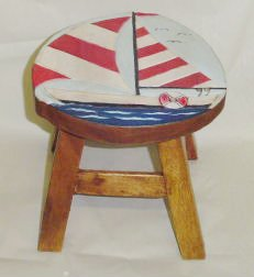Sailboat Hand Carved and Hand Painted Wooden Foot Stool