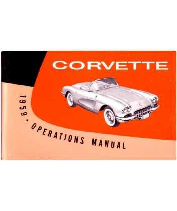 1959 CHEVROLET CORVETTE Owners Manual User Guide