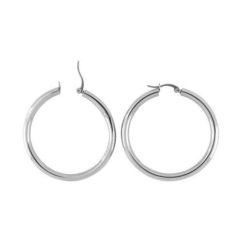 Inox 50mm Stainless Steel Hoop Earrings