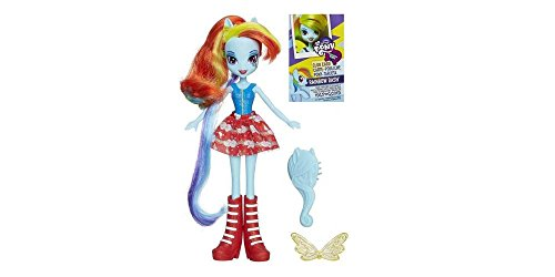 My Little Pony Equestria Girls Rainbow Dash Doll Dressed to Impress in Her Blue Shirt, Red and White Skirt and Red Boots. Her Hair Is a Fun Combination of Red and Yellow Strands. Your Little Girl Will Love to Play and Accessorize with Rainbow Dash! image