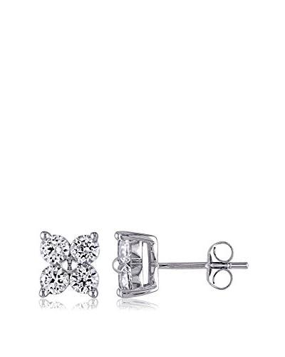 Rina Limor Created White Sapphire Flower Stud Earrings