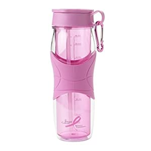 Trudeau Cool Down Polycarbonate Hydration 24-Ounce Bottle, Breast Cancer Awareness, Pink