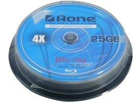 AONE Blu-Ray 25Gb 4x BD-R Blank Discs – White Inkjet Printable (10 Pack)