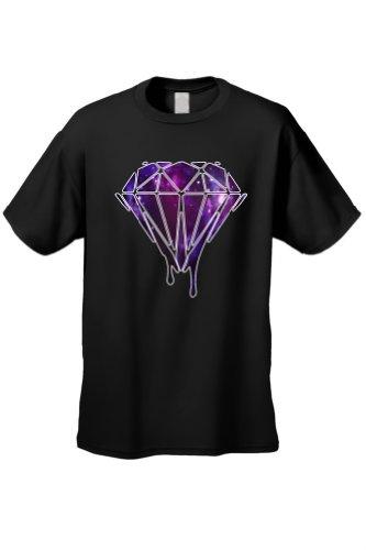 Men's/Unisex Dripping Purple Galaxy Diamond BLACK Short Sleeve T-shirt (Large)