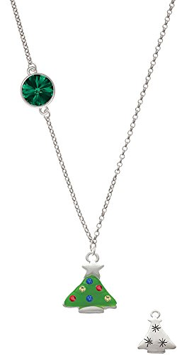 Green Resin Christmas Tree With Crystals Delicate Green Rivoli Crystal Necklace