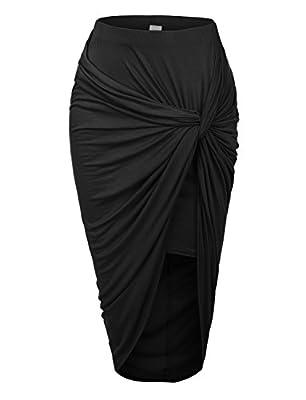 RubyK Womens Asymmetrical Banded Waist Wrap Cut Out Hi Low Maxi Skirt