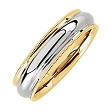 buy 14K White And Yellow Gold Comfort Fit Milgrain Band Size 12