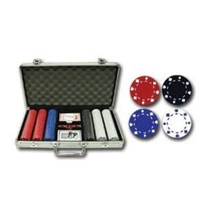"300 piece poker chip set ""Suited Design"" 11.5g clay composite in lockable silver case with Dealer Button"