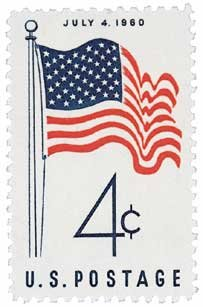 #1153 - 1960 4c 50-Star Flag Postage Stamp Numbered Plate Block (4)
