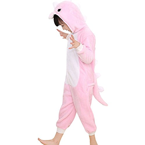 Pink Dinosaur Costumes Onesie Pajamas for Kids Girls Toddler Animal Cosplay