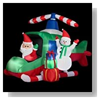CHRISTMAS DECORATION LAWN YARD INFLATABLE SANTA AND SNOWMAN ON ANIMATED HELICOPTER 5' TALL