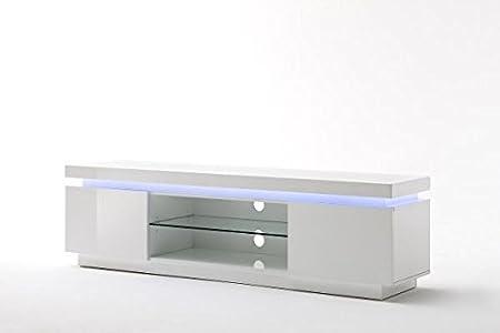 TV-lowboard, TV-Board, TV-Tisch Ocean Hochglanz weiß mit LED Beleuchtung