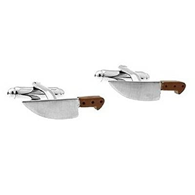 Knife Butcher Cufflinks Sword Cook Gift + Box & Cleaner