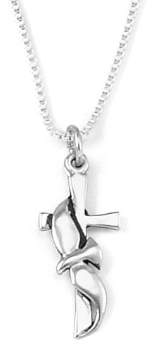 Sterling Silver Cross and Flowing Dove Pendant, 18 inch