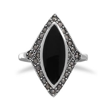 Sterling Silver Marquise Black Onyx with Marcasite Edge Ring / Size 8