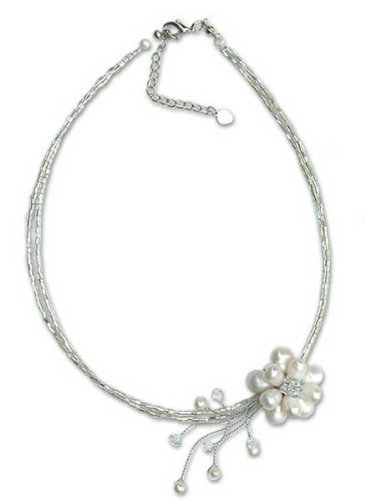 Pearl choker, 'Floral Chic'