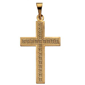Genuine IceCarats Designer Jewelry Gift 14K Yellow Gold Cross Pendant W/Design. 22.00X14.00 Mm Cross Pendant W/Design In 14K Yellow Gold