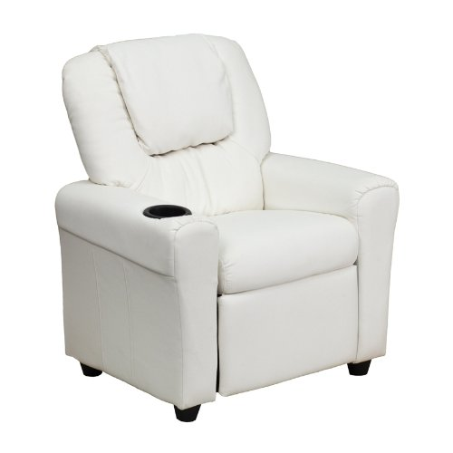 Offex OF-DG-ULT-KID-WHITE-GG Contemporary White Vinyl Kids Recliner with Cup Holder and Headrest