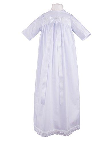 Taufkleid Sascha mit weißer Schleife - Größe 68, festliche Taufbekleidung für Mädchen und Jungen geeignet, aus 100 % Baumwolle gefertigt.