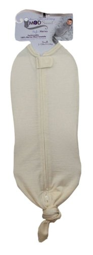 Mod Swad Fashionable 100% Merino Wool Baby Swaddle ~ Choose Size/Color (Medium 14-19 Lbs, Bisque)