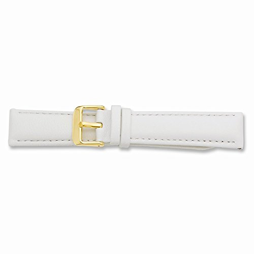 22Mm White Glove Leather Gold-Tone Buckle Watch Band