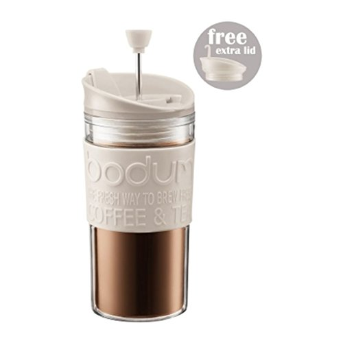 Bodum K11102-913 Travel Press Set Coffee Maker with Extra Lid, 12 oz, White (Travel French Press Bodum compare prices)