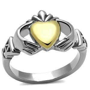 Stainless Steel Two Tone Irish Claddagh Ring