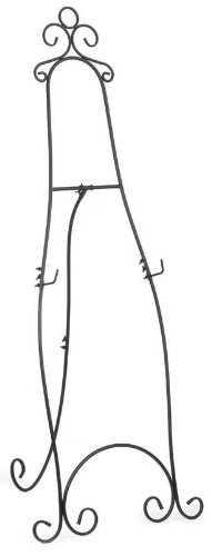 Displays2go 71.25 inches Tall Floor Standing Easel Stand with Decorative Embellishments and Adjustable Hooks, Steel Construction, Black (EAS5199BLK)