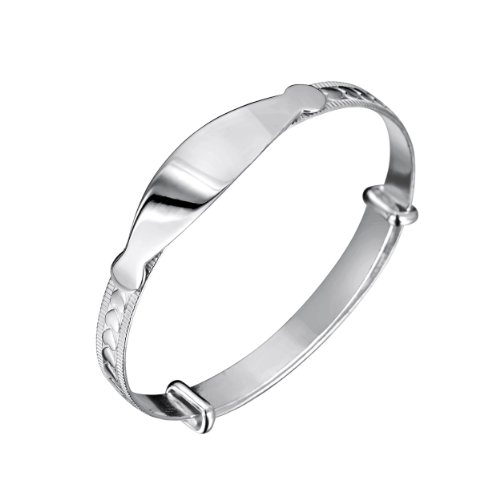 Jo For Girls Sterling Silver Expanding Heart Id Bangle