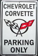 Chevrolet Corvette Parking Only Metal Street Sign