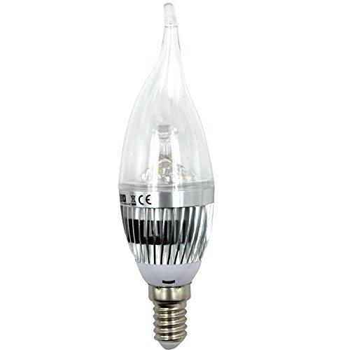 OUBO E14 E27 GU10 MR16 3W 4W 5W 7W LED Lampe Bulb Strahler Spot Kerze Leuchtmittel Glühbirne Birne Warmweiß Kaltweiß Top-Qualität (3W E14 Krumm Kaltweiß Silber)